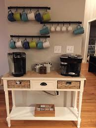 Coffee Maker Table Simple Wooden Kitchen Table Neat Black Metal Bar Cup Hanger Simple