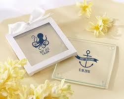 wedding coaster favors nautical baby themed personalized glass coasters favors set of