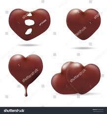 set chocolate love hearts on white stock vector 557628190