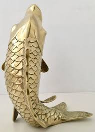 Koi Fish Vase Mid Century Large Solid Brass Koi Fish Vase Sculpture At 1stdibs