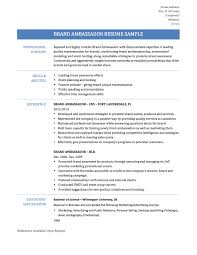 Resume Samples Monster by Sample Brand Ambassador Resume Free Resume Example And Writing