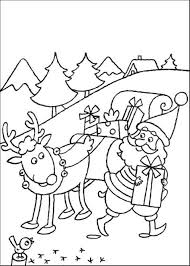 christmas santa and reindeer coloring pages ne wall