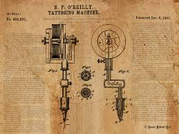 vintage patent art drawing of tattoo machine