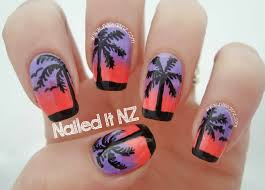sunset and palm tree nails trip down nail art lane day 7