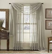 Sheer Valance Curtains Monagifts Silver Scarf Voile Window Panel Solid Sheer