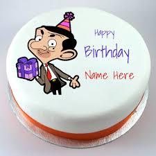 happy birthday mr bean funny cartoon cake with name