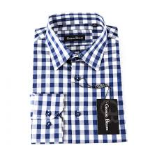 calabria blue gingham button front shirt for men