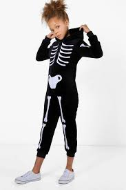 girls skeleton halloween onesie boohoo
