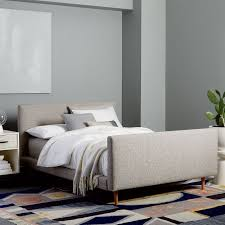 josef upholstered bed feather gray deco weave west elm