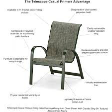 Telescope Furniture Replacement Slings by Primera Aluminum Stacking Patio Dining Arm Chair By Telescope