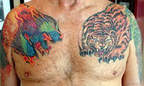 71 stylish tiger on chest