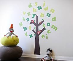 Large Colorful Alphabet Tree Fabric Wall Art Decals For Kids - Alphabet wall decals for kids rooms