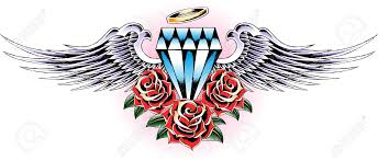 flying diamond with rose tattoo royalty free cliparts vectors