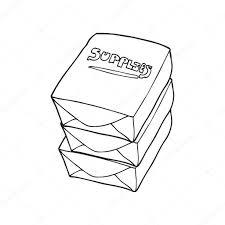 bureau dessin pile de dessin animé noir et blanc de papier de bureau image