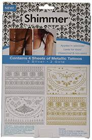 amazon com as seen on tv shimmer metallic jewelry tattoos beauty