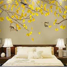 Wallpaper For Living Room Aliexpress Com Buy Wallpaper Birds Gingkgo Leaves Entrance