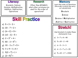 Order Of Operations Worksheet Answers Order Of Operations Miss Brookes Maths