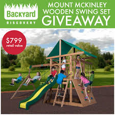 win the mount mckinley wooden swing set from backyard discovery