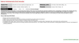 Biology Resume Template Fisheries Biologist Cover Letter U0026 Resume
