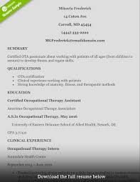 occupational therapist resume template resume peppapp