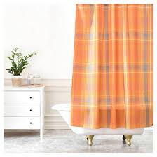 allyson johnson fall time plaid shower curtain pumpkin deny