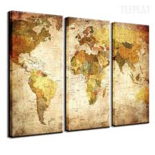 Naruto World Map by World Map 3 Piece Canvas Painting Empire Prints