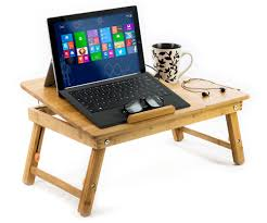 Bed Computer Desk 100 Bamboo Adjustable Laptop Table Computer Desk Tilting Top W