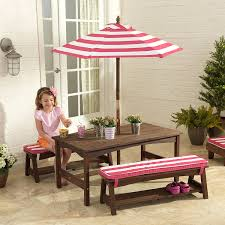 Patio Furniture Set With Umbrella - amazon com kidkraft table bench set pink u0026 white outdoor