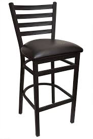 gladiator ladder back metal bar stool with black vinyl seat and