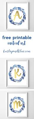 free printable art home decor free printable initial art indigo gold initial art free