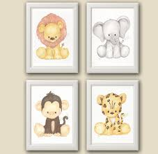 zoo nursery art nursery decor set of 4 prints zoo