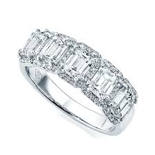 half eternity ring berry s 18ct white gold five emerald cut diamond eternity ring
