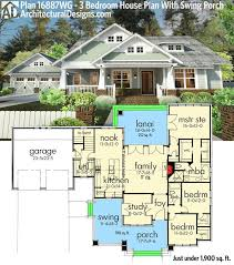 architectural designs home plans plan 16887wg 3 bedroom house plan with swing porch