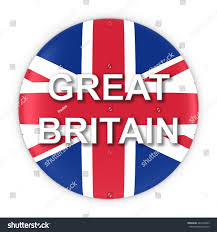 British Flag With Red British Flag Button Great Britain Text Stock Illustration