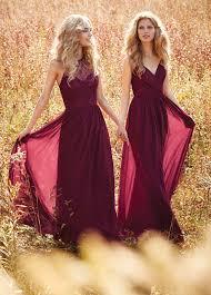 burgundy draped v neck spaghetti strap lace and chiffon bridesmaid
