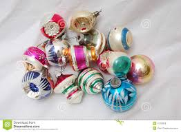pile of old christmas tree ornaments royalty free stock photos