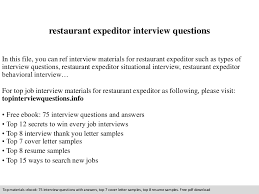 food expeditor resume restaurant expeditor interview questions