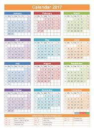2017 Calendar with Holidays Printable Yearly Calendar Template Orange