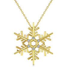 yellow gold pendant necklace images Diamond snowflake pendant necklace 14k yellow gold 0 06ct allurez jpg