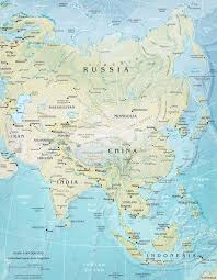 Blank East Asia Map physical map asia