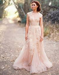 pink wedding dress v cap sleeves lace applique tulle sheer vintage a line pink