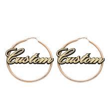 hoop earrings with name personal custom name design hoop earrings gold plate circle