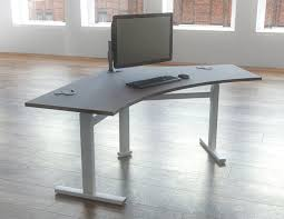 Stand Sit Desk by Shine Height Adjustable Sit Stand Crescent Desk