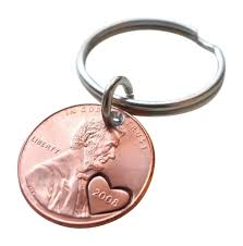7 year anniversary gift ideas 2008 us one cent keychain with heart around year
