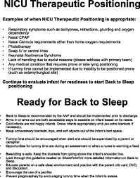 Responsibilities Of A Neonatal Nurse Integrating U201cback To Sleep U201d Recommendations Into Neonatal Icu