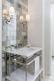 mirror tiles for bathroom walls antiqued mirrored subway tiles with marble washstand contemporary