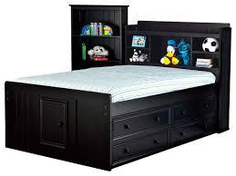 bensonhurst full size bookcase captain u0027s bed black transitional