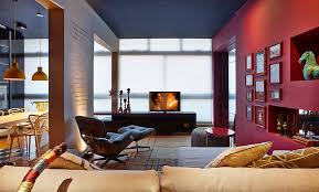 Red Round Coffee Table - apartments black painted ceiling in awesome living room beside