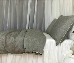 chambray grey linen duvet cover with soft white piping available
