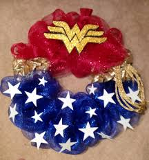 jeep wreath theme wonder woman mesh wreath added foam stars and logo i am pleased
